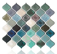 """This Arabesque Peel and Stick Backsplash Can Renovate Your Kitchen, which Can Be Applied to Rv, kitchen and Bathroom. the size of the tile is 11""""x10"""", which covers 10% more area than 10""""x10"""" tile covers. High quality assurance. Easy to install, just peel and stick(not real tile and not just sticker).More blue color than green. Arabesque Tile Backsplash, Peel N Stick Backsplash, Peel And Stick Tile, Smart Tiles Backsplash, Stick Tiles, Backsplash Ideas, Mosaic Tiles, Room Tiles, Kitchen Tiles"""