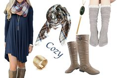 Cozy Fall Fashion - whole outfit!  Goes with boots, tunic scarf socks and accessories.  All highly rated!  Great for date night or casual work day, goes with leggings.  Great budget outfit!