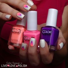 Color Forever: Gradient triangle nail art with Live Love Polish