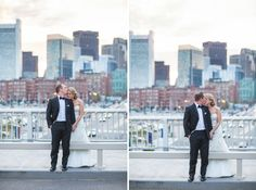 Bride and Groom with Boston Skyline