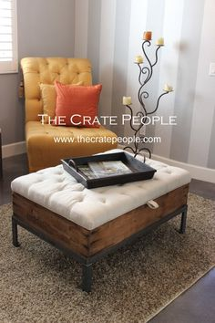Raisin Sweat Box Tufted Ottoman - Vintage Wood Crate with Storage and European Grain Sack Fabric - C