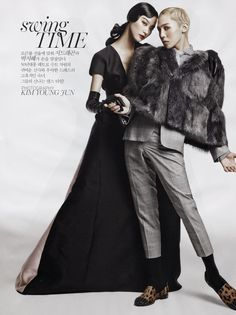 Vogue Korea - Swing Time Editorial - Models Ji Hye Park & G-Dragon August 2013