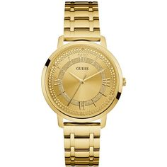 Guess Women's Gold-Tone Stainless Steel Bracelet Watch 40mm U0933L2 ($110) ❤ liked on Polyvore featuring jewelry, watches, gold, guess watches, watch bracelet, bracelet watch, gold colored jewelry and stainless steel jewelry