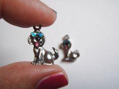 ciondoli di metallo argento tibetano smalto cane con occhiali da sole ciondoli charm gioielli handmade craft supplies beads lasoffittadiste