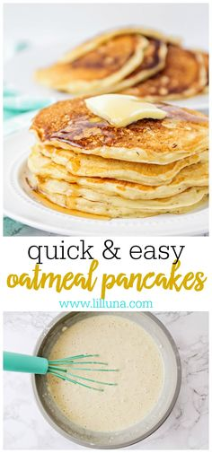 Delicious Oatmeal Pancakes - this simple and tasty recipe is filled with oats and is one the whole family will enjoy for breakfast and for holidays! Oatmeal Pancakes, Breakfast Pancakes, Pancakes And Waffles, What's For Breakfast, Breakfast Dishes, Healthy Breakfast Recipes, Brunch Recipes, German Pancakes, Dinner Recipes