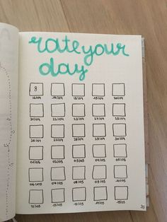 rate your day bullet journal page