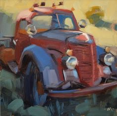 """Daily Paintworks - """"Fading Fast"""" by Carol Marine Paintings I Love, Small Paintings, Truck Art, Automotive Art, Car Painting, Fine Art Gallery, Artist Art, Art Cars, Les Oeuvres"""