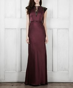 Perfect for channeling after-dark glamour, in on-trend deep berry this floor length maxi dress is sure to command the room. Crafted from luxurious pure silk and with lace detail to the back and a chic V-neck front, it even showcases a figure-flattering waist band to highlight your feminine figure. Fabric: outer - 100% silk, trims - 20% rayon, 80% polyamide,  lining - 100% silkFit: true to sizeColour: deepberryCare advice: specialist dry clean only