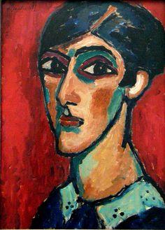 Longish woman head in reddish brown, 1913  // by Alexej von Jawlensky. German Expressionism