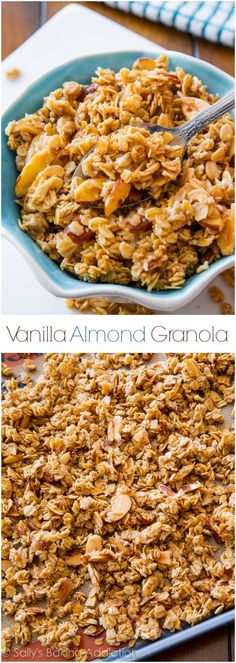 Ditch the store-bought… healthy homemade granola is easy! Make this sweet, sti… Ditch the store-bought… healthy homemade granola is easy! Make this sweet, sticky, and crunchy granola that is exploding with vanilla and almond flavors! Breakfast Recipes, Snack Recipes, Cooking Recipes, Healthy Recipes, Healthy Snacks, Cooking Tips, Simple Snacks, Freezer Recipes, Breakfast Bake