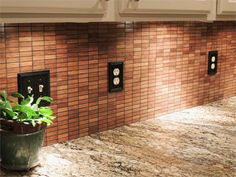 Modwalls Harvest Bamboo Mosaics sustainable wood tile in stacked French Roast color