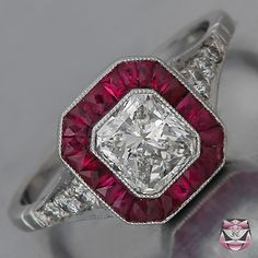 I just love the rubies on this art deco engagement ring.