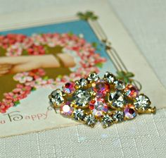 BellaRosaAntiques.com  Aurora Borealis Brooch and Bonus Earrings-Vintage Brooch, Aurora Borealis Pink,