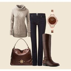Brown & White Winter Outfit