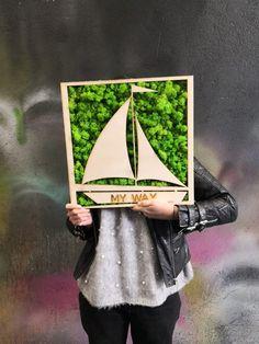 BOAT MOSS/moss wall art/ birthday present/holiday gift/living wall/green wall Moss Wall Art, Moss Art, Wall Art Decor, Moss Graffiti, Moss Letters, Moss Decor, Art Birthday, Office Wall Art, Laser Cut Wood