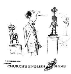 ronald searle's illustration. church's shoes. Ronald Searle Cultural Estate ltd http://www.ronaldsearleculturalestate.com/