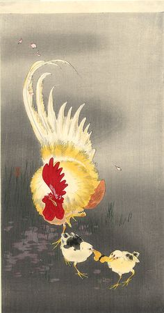 Rooster and Two Chicks by Ohara Koson