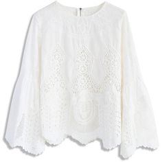 Chicwish Beauty Full Lace Cutout Top in White (380 GTQ) ❤ liked on Polyvore featuring tops, white, white top, cut loose tops, loose tops, lacy white top and bell sleeve tops