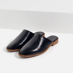 Image 3 of FLAT LEATHER SLIPPER SHOES from Zara