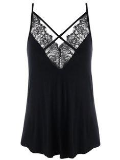 26a102d74d7 Wipalo Women Fashions Plus Size Lace Trim Criss Cross Tank Top Casual V  Neck Sleeveless Sleeveless Black Sheer Top Lady Tank