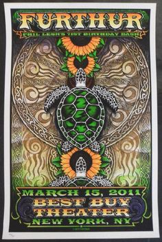 Original silkscreen concert poster for Furthur and Phil Lesh's 71st birthday at The Best Buy Theater in New York City, New York in 2011. Artwork by Michael Everett. 16 x 21.5 inches. 7 color silkscreen. Numbered 325. Not signed
