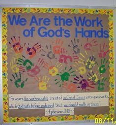 God's handiwork bulletin board idea from D. Ephesians Great main church bulletin board idea to involve whole church with! Sunday School Rooms, Sunday School Classroom, Sunday School Activities, Sunday School Lessons, Sunday School Crafts, Classroom Ideas, Classroom Door, Classroom Displays, School Week