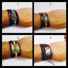 pulseira bracelete couro masculino feminino ajustável tribal