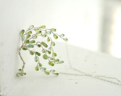 Willow Tree Necklace Sterling Silver, Nature Jewelry, Artisan Designer, Wearable Art, Summer, Green.....