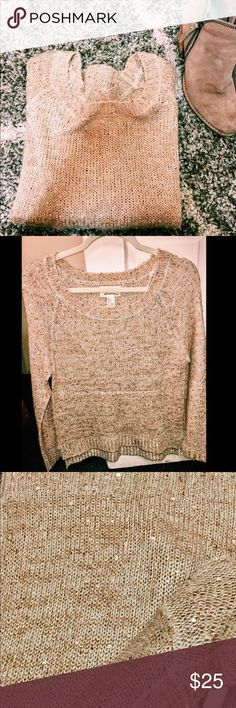 Cream sweater with gold/cream sparkles Super cute and comfy sweater is perfect to bring a little sparkle to your outfit and make you the center of attention! Offers welcome! XO Sweaters