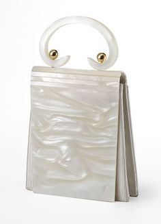 Gorgeous Rare Vintage LUCITE White 1950s Plastic Purse. Love the handle detail!