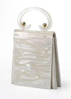 Gorgeous Rare Vintage LUCITE White 1950s Plastic Purse