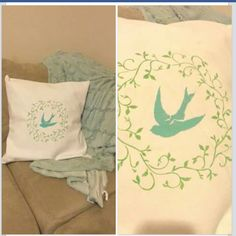 Easy pillow cover project. Already had the basic plain couch pillows, sewed the cover and stenciled. Could even use Goodwill pillows and cover