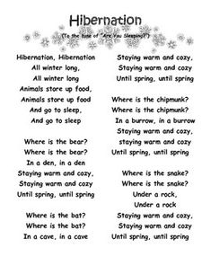 Here's a fun song and activity page to teach your class about hibernation. #hibernation #sciencesongs #winterworksheet