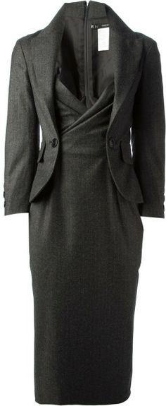 Dsquared2 Gray Pinstripe Blazer Dress
