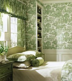 """A fresh, inspiring color palette with classic style. Toiles were originally produced in Ireland in the mid-18th Century & quickly became popular in Britain & France as well as in the Colonial United States.Toile de Jouy,  abbreviated to simply """"toile"""", is a type of decorating pattern consisting of a usually white or off-white background on which a repeated pattern depicting a fairly complex scene, generally a pastoral theme such as a couple having a picnic by a lake or an arrangement of…"""