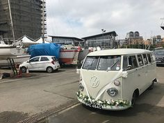 Need wedding car hire in Greenwich? Take a look at our unusual wedding car, a beautiful vintage VW wedding van. Wedding Vans, Wedding Car Hire, Wedding Company, Wedding Blog, Vw Campervan Hire, Car Cost, London Bride, White Vans, Retro Cars