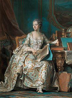Portrait de la marquise de Pompadour, 1748-1755, pastel sur papier bleu, rehauts de gouache, Maurice Quentin de Latour, (Paris, Musée du Louvre). Mme de Pompadour eut un rôle très important dans la vie artistique et intellectuelle du XVIIIe siècle. Née Jeanne-Antoinette Poisson, en 1721, était issue d'une famille bourgeoise liée au monde des finances, bénéficiant d'une éducation soignée et raffinée.