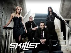 The rock band I listen to: Skillet. I have no idea what their names are. <<< Jen Ledger, Seth Morrison, John Cooper, Korey Cooper (left to right) Christian Rock Bands, Christian Music, Christian Metal, Christian Artist, Christian Singers, I Love Music, Music Is Life, Amazing Music, Laura Lee