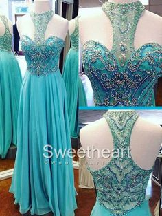 Green A-line chiffon sequin long prom dress, beads long green evening dress