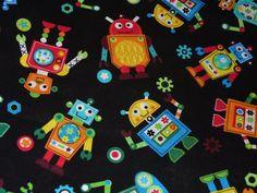 Robots Fabric / Gearheads / Tossed Robots  / by trinketsintheattic, $20.00
