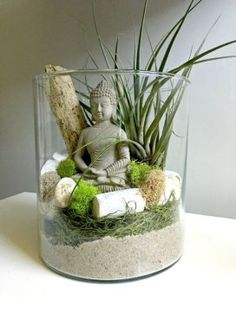 Items similar to Large air plant terrarium - glass vase Living decor DIY kit - gift for any occasion- Buddha zen decor on Etsy Terrariums Diy, Air Plant Terrarium, Garden Terrarium, Deco Spa, Buddha Decor, Large Glass Vase, Meditation Garden, Meditation Space, Buddha Zen