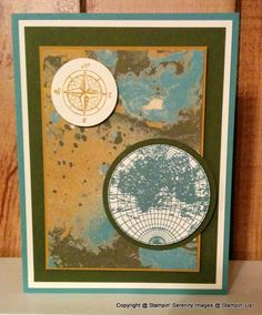 On this card I used the new, upcoming, fantastic Going Places 6 x 6 inch Design Series Paper Pack.  This was on my must have list for my preorder from the Stampin' Up! Occasions Catalog.  I also used the stamp set titled The Open Sea for the front of this card.  Then for the inside sentiment I used the FREE sale-a-bration stamp set titled Sky Is The Limit and punched it out using the Banner Triple Punch.  The background is embossed with the World Travelor Embossing Folder.