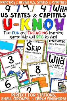 Students love playing U-Know games for fun REVIEW of US states and capitals or for test prep. It's a perfect activity for any small group or station, and great for early finishers. US States and Capitals U-Know is a fun learning game played similar to UNO except if you get an answer wrong, you have to draw two! Students will beg to practice the states and capitals of the United States in this way! Available in MANY other topics, too!