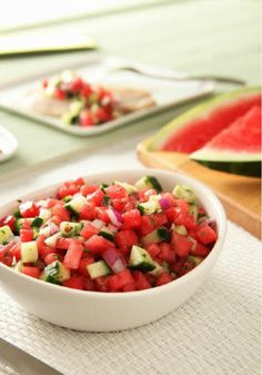 Fresh Watermelon Salsa -- This healthy living recipe is sure to be the star of the appetizer table at your next summer get-together--ready to serve in just 15 minutes!