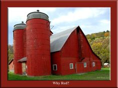 ~ traditionally red because red paint was cheaper, most preferable long ago was to paint the front of barn white that company would see and the back the cheaper red paint ~ interesting!