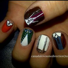 one direction nails my-style One Direction Nails, I Love One Direction, Cute Nails, Pretty Nails, Fancy Nails, Cool Bands, You Nailed It, Hair And Nails, Nail Colors