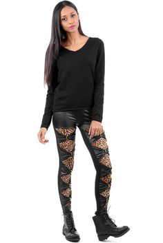 Wet Look Animal Print Detailed Leggings   Wet Look Animal Print Detailed Leggings. Stand out from the crowd in these Wet Look Animal Print Detailed leggings with plain black at the back. If you want to make a fashion statement then these are the leggings for you!  Grab yours before they are gone at just £14.99