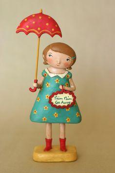 Girl with an Umbrella OOAK Art Doll.