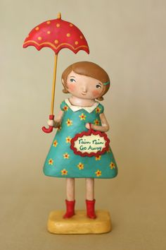 Girl with an Umbrella OOAK Art Doll.