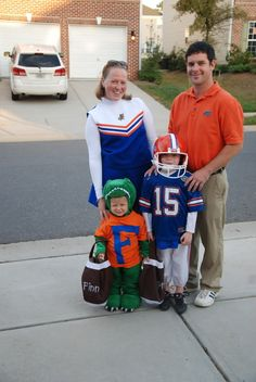 cute family costume - coach, cheerleader, football player, mascot.  If you had a baby, he could be a football.